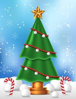 メリークリスマスと新年あけましておめでとうございますのための美容装飾クリスマスツリーの風景ビュー