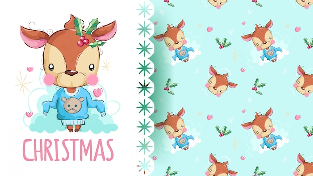 Beauty deer with christmas pattern