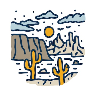 Beauty desert cactus graphic illustration art t-shirt design
