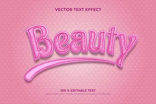 Beauty editable 3d text effect with love pink backround style