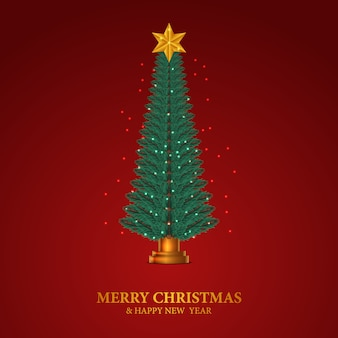 Beauty elegant fir leaves garland. christmas tree decoration with golden star and red background.
