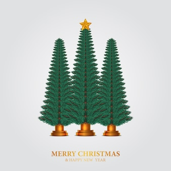 Beauty elegant fir leaves garland. christmas tree decoration with golden star and white background.