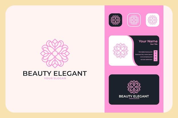 Beauty elegant flower geometry logo design and business card
