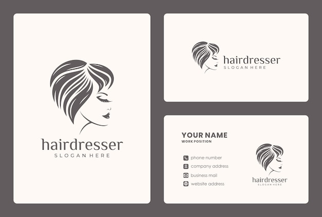 Beauty face, hair style, woman logo design with business card template.