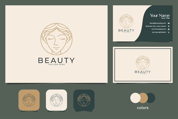 Beauty face logo design and business card. good use for fashion, spa and salon logo