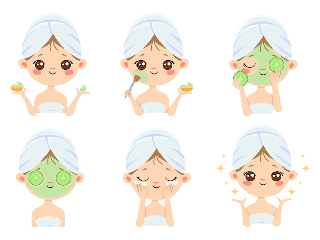 Beauty face mask. woman skin care, cleaning and face brushing. acne treatment masks cartoon
