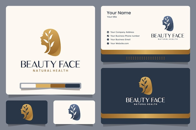 Beauty face ,nature ,girl ,leaves ,gold color , logo design and business card