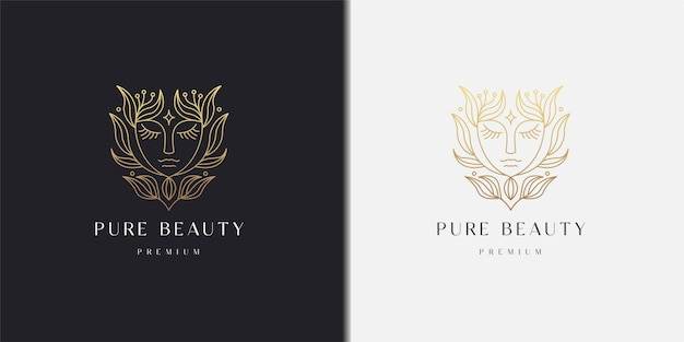 Beauty face woman with nature leaf floral line style gradient logo icon design template
