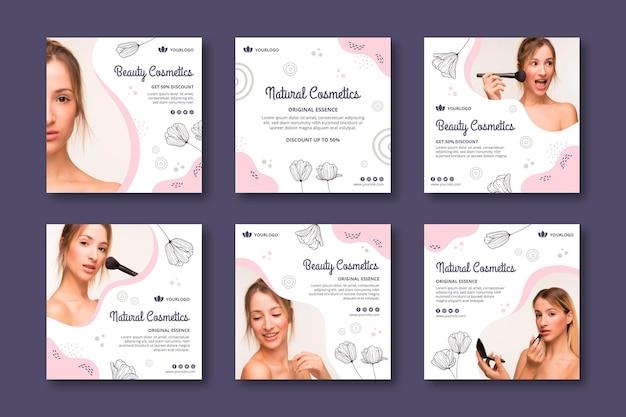 Modello di post instagram di cosmetici per il viso di bellezza