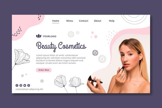 Modello di pagina di destinazione dei cosmetici per il viso di bellezza