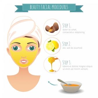 美容フェイシャル手順。卵、レモン、蜂蜜の自家製フェイシャルマスク