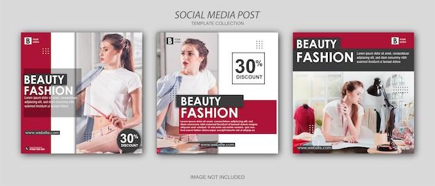 Beauty fashion banner template set