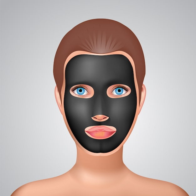 Beauty fashion girl apply facial charcoal black mask.