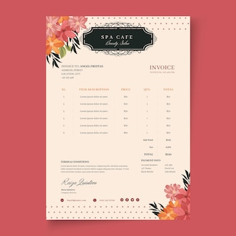 Beauty fashion salon invoice template