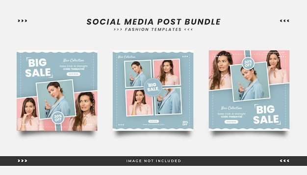 Beauty fashion social media post template with feminime style