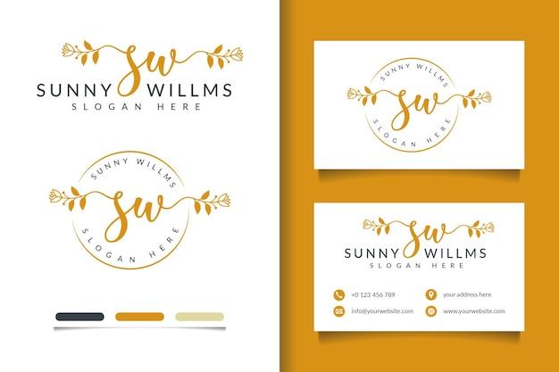 Коллекция женских логотипов красоты с шаблоном визитной карточки