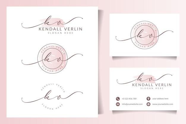 명함 템플릿과 아름다움 여성 로고 컬렉션