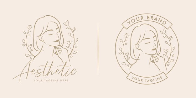 Beauty feminine salon logo icon line art outline