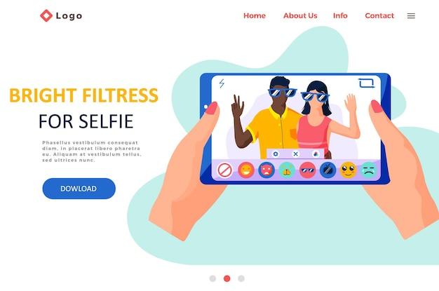 Фильтры красоты для фоторамки интерфейса селфи в приложении социальных сетей со счастливой парой.