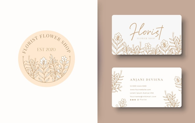 Beauty floral logo design with business card