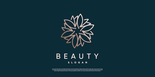 Красота цветок абстрактный логотип со стилем линии premium векторы