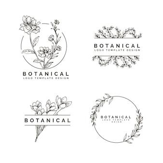 Красота цветок и ботанический дизайн стиля рисования руки