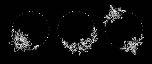 美しさの花と植物の手描きスタイルのデザイン