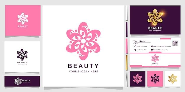 명함 디자인의 아름다움, 꽃, 부티크 또는 장식 로고 템플릿. 스파, 살롱, 뷰티 또는 부티크 로고 디자인을 사용할 수 있습니다.