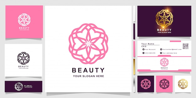 명함 디자인의 아름다움, 꽃, 부티크 또는 장식 로고 템플릿. 스파, 살롱, 미용 또는 부티크 로고 디자인을 사용할 수 있습니다.