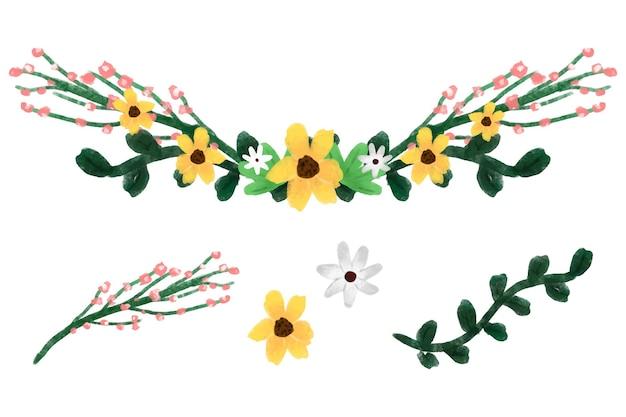 Beauty flower crown digital illustration