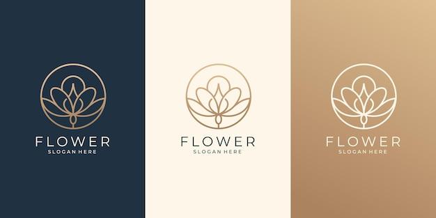 살롱과 스파를 위한 뷰티 플라워 라인 아트 로고 디자인