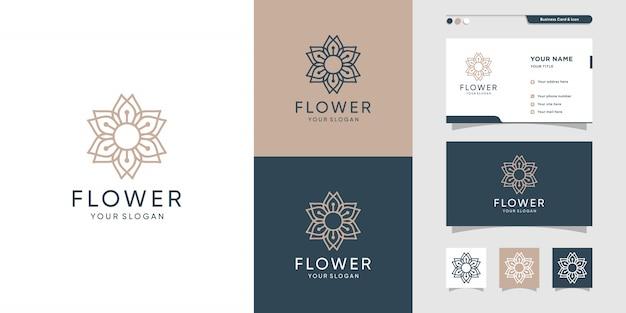 美容花のロゴと名刺のデザインイラスト。美容、ファッション、サロン、スパ、ヨガ