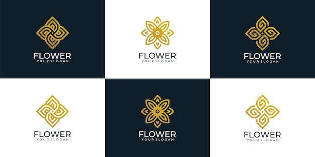 Коллекция дизайна логотипа beauty flower для косметического спа-отеля для украшения йоги