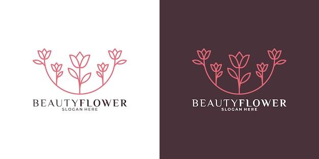 あなたのビジネススパ、化粧品、ファッションなどのための美容花のロゴデザインテンプレート