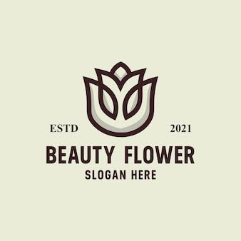 美しさの花のロゴレトロなヴィンテージベクトルテンプレート