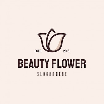 Beauty flower logo retro vintage vector template