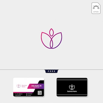Beauty flower logo template, free your business card design