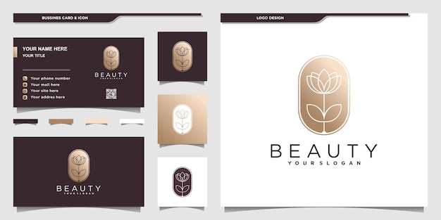 Красочный цветочный логотип с золотыми градиентными цветами и дизайном визитной карточки premium векторы
