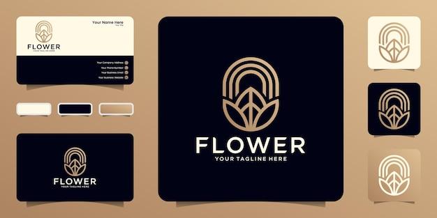 라인 아트 스타일과 골드 컬러 템플릿 및 명함 디자인이 있는 뷰티 플라워 로고