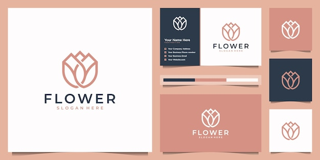 Beauty flower minimalist line art style. elegant logo  and business card.