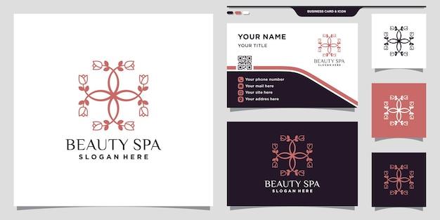 독특한 선형 스타일과 명함 디자인이 있는 아름다움 꽃 장미 로고 premium vector