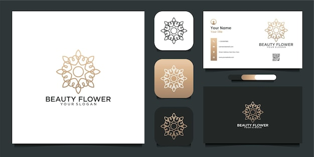 Красивый цветок шаблон дизайна логотипа и визитной карточки premium векторы