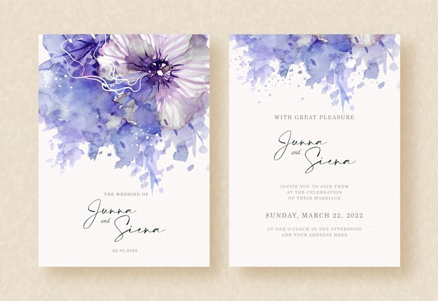 Beauty flower with abstract splash purple painting on wedding invitation background