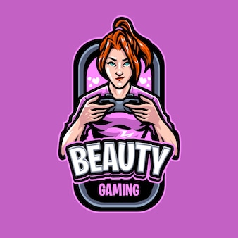 Шаблон логотипа талисмана beauty gaming