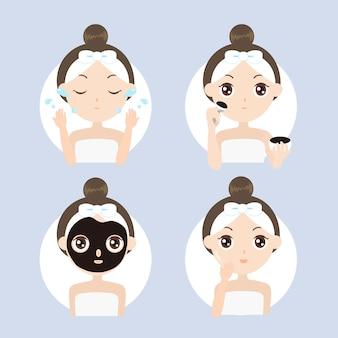 Красавица наносит маску для лица из черной глины для иллюстрации повседневного ухода за кожей premium векторы