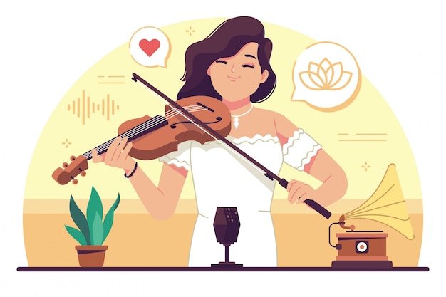 Beauty girl playing violin flat design illustration