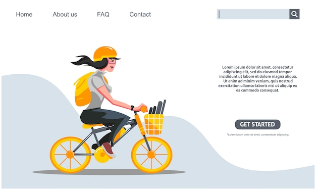 Beauty girl riding yellow bicycle, student bike to school concept. .