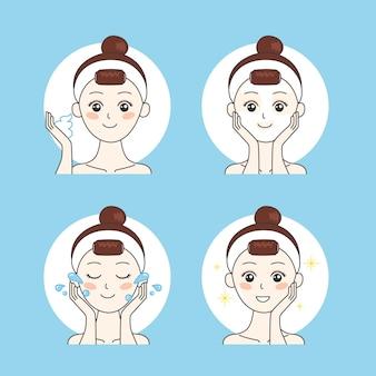 미녀는 얼굴을 돌보고 피부를 위한 클렌징 제품을 사용합니다. premium vector