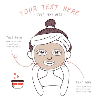 Beauty girl with facial skincare mask