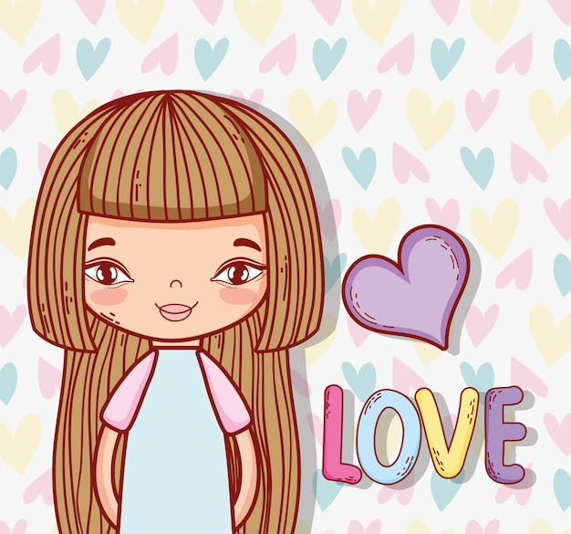 Beauty girl with hairstyle and heart love
